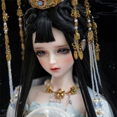 1/3 Youth Great Snow Black Ancient Wig Note: Only for BJD Dolls.